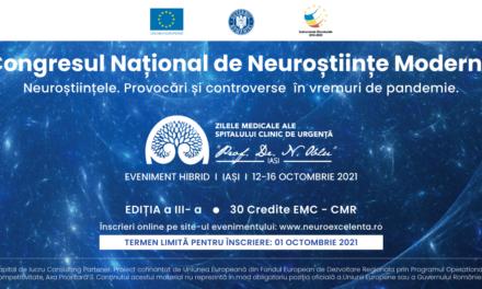 Peste 350 de specialiști din domeniul neuroștiințelor vor fi prezenți la lucrările hibride ale Congresului Național de Nuroștiințe Moderne din România, 2-16 octombrie 2021